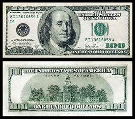 foto of two dollar bill  - two sides of banknote of 100 dollars on a black background - JPG