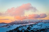 stock photo of bogong  - Sunset over Mt Bogong in the Victorian Alps - JPG