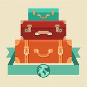stock photo of old suitcase  - Vector travel concept in flat style  - JPG