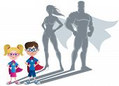 stock photo of boy girl shadow  - Conceptual illustration of little children with superhero shadows - JPG
