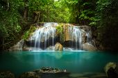 pic of waterfalls  - Level two of Erawan Waterfall in Kanchanaburi Province Thailand - JPG