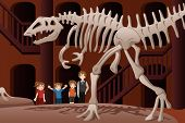 stock photo of dinosaur skeleton  - A vector illustration of kids on a field trip to a museum - JPG