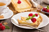 stock photo of tarts  - Apple tart with almond frangipane and whole wheat pastry - JPG
