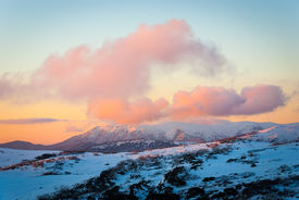 picture of bogong  - Sunset over Mt Bogong in the Victorian Alps - JPG