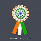stock photo of indian independence day  - Badge in Indian National Flag colors on grey background for Indian Independence Day celebrations - JPG
