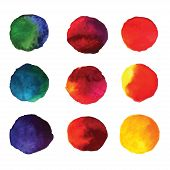 picture of dab  - Set of watercolor hand painted gradient circles isolated on white - JPG