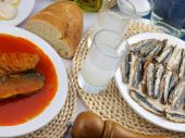 stock photo of ouzo  - Greek Ouzo or tsipouro with misc seafoods - JPG