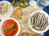 image of ouzo  - Greek ouzo or tsipouro with misc seafood - JPG