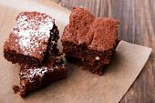 pic of brownie  - Delicious brownies on the wooden table close - JPG