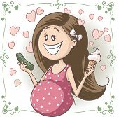 image of flat stomach  - Vector cartoon of a pregnant woman craving strange food combinations - JPG