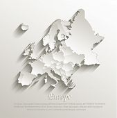 foto of political map  - Europe political map card paper 3D natural vector individual states separate - JPG