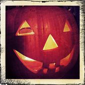 picture of jack-o-lantern  - Instagram filtered image of a Halloween Jack o lantern - JPG