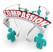 stock photo of compassion  - Compassion word on arrows connecting people to show sympathy - JPG