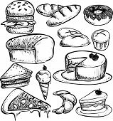 stock photo of ice-cake  - Doodle illustration of pastry breads - JPG