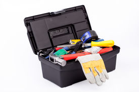 stock photo of nail-cutter  - Toolbox with gloves - JPG