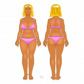 stock photo of anorexia  - Fat and thin woman - JPG
