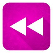 picture of christmas song  - rewind violet flat icon - JPG