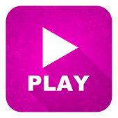 stock photo of christmas song  - play violet flat icon - JPG