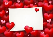 stock photo of soulmate  - Blank wedding card paper invitation surrounded by floating red heart and pink love - JPG