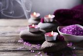 stock photo of composition  - Composition of spa treatment on table on grey background - JPG