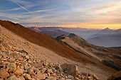 pic of italian alps  - A stunning sunset high in the italian Alps on an extreme rocky landscape near Bardonecchia Torino Province North - JPG