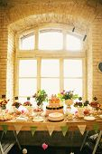 picture of wedding feast  - Wedding Banquet with sweets at the window - JPG