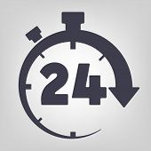 foto of countdown timer  - Timer icon black vector time clock simple - JPG