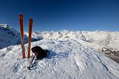 foto of avalanche  - On the top of the mountain pair of back country  - JPG