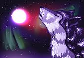 pic of wolf moon  - Abstract colorful northern landscape with moon and howling wolf - JPG