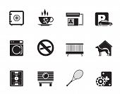 stock photo of motel  - Silhouette hotel and motel amenity icons  - JPG