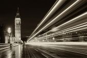 picture of rain  - Monochrome Big Ben and London at night with the lights of the cars passing by after rain London and England - JPG