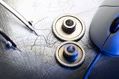 foto of mechanical drawing  - Mechanical ratchets dividers and drafting in closeup - JPG