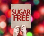 picture of substitutes  - Sugar Free card with colorful background with defocused lights - JPG