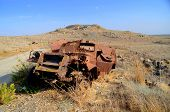 picture of golan-heights  - Burned syrian APC from 1973 year war in Golan heights - JPG
