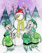 picture of tease  - The elves are teasing the snowman with hair dryers - JPG