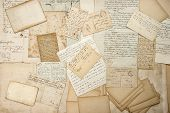 stock photo of handwriting  - old letters handwritings vintage postcards ephemera - JPG