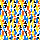 stock photo of indigo  - Vector seamless bold harlequin pattern colorful hand painted diamond shapes in bright multiple colors yellow - JPG