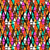 image of harlequin  - Vector seamless bold harlequin pattern colorful hand painted diamond shapes in bright multiple colors red - JPG