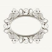 foto of oval  - Beautiful floral design decorated blank frame in oval shape white background - JPG