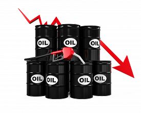 image of drop oil  - Oil Prices Dropping Illustration isolated on white background - JPG