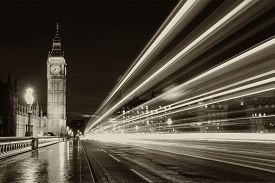 picture of street-art  - Monochrome Big Ben and London at night with the lights of the cars passing by after rain London and England - JPG