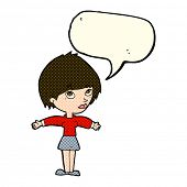 stock photo of open arms  - cartoon woman with open arms with speech bubble - JPG