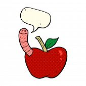 stock photo of worm  - cartoon apple with worm with speech bubble - JPG