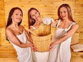 foto of sauna woman  - Group female people relaxing in sauna - JPG