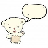 picture of bear-cub  - cartoon polar bear cub waving with speech bubble - JPG