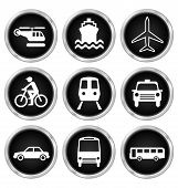 picture of motor coach  - Black transport related icon set isolated on white background - JPG