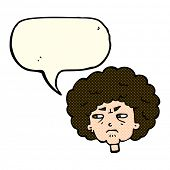 pic of bitters  - cartoon bitter old woman with speech bubble - JPG