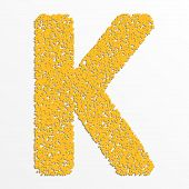pic of letter k  - Vector colorful English or Latin alphabet items with grain texture - JPG