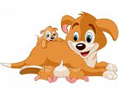 pic of puppies mother dog  - Illustration of mother dog nursing cute puppies - JPG