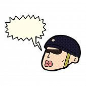 foto of policeman  - cartoon policeman head with speech bubble - JPG
